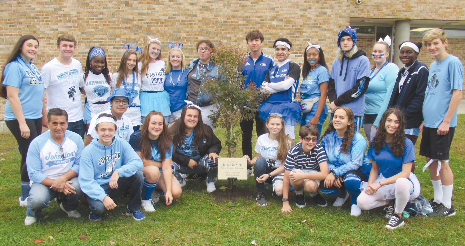 MARVELOUS MELE MEMORIAL: The 2019 Johnston High School Student Council members who helped plant a Japanese maple tree in the late Janice D. Mele's honor are, in front, faculty advisor Greg Russo, Nicholas Petrillo, Janet Clements, Rebecca Clements, Trista Clarke, Charlie Curci, Emily Klein and Mia Ragosta; and at top, Talia LaFlamme, Nicholas Cronan, Lala Olagundoye, Charles Hohlmaier, Ashlyn Banno, Victoria Winsor, Glorianna Crichtlow, James McHale, Carlos Fragoso, A'amani Maxie, Dmitri Dmetropoulous, Jeweleana Lariviere, Josephine Olagundoye and James Guilmette.