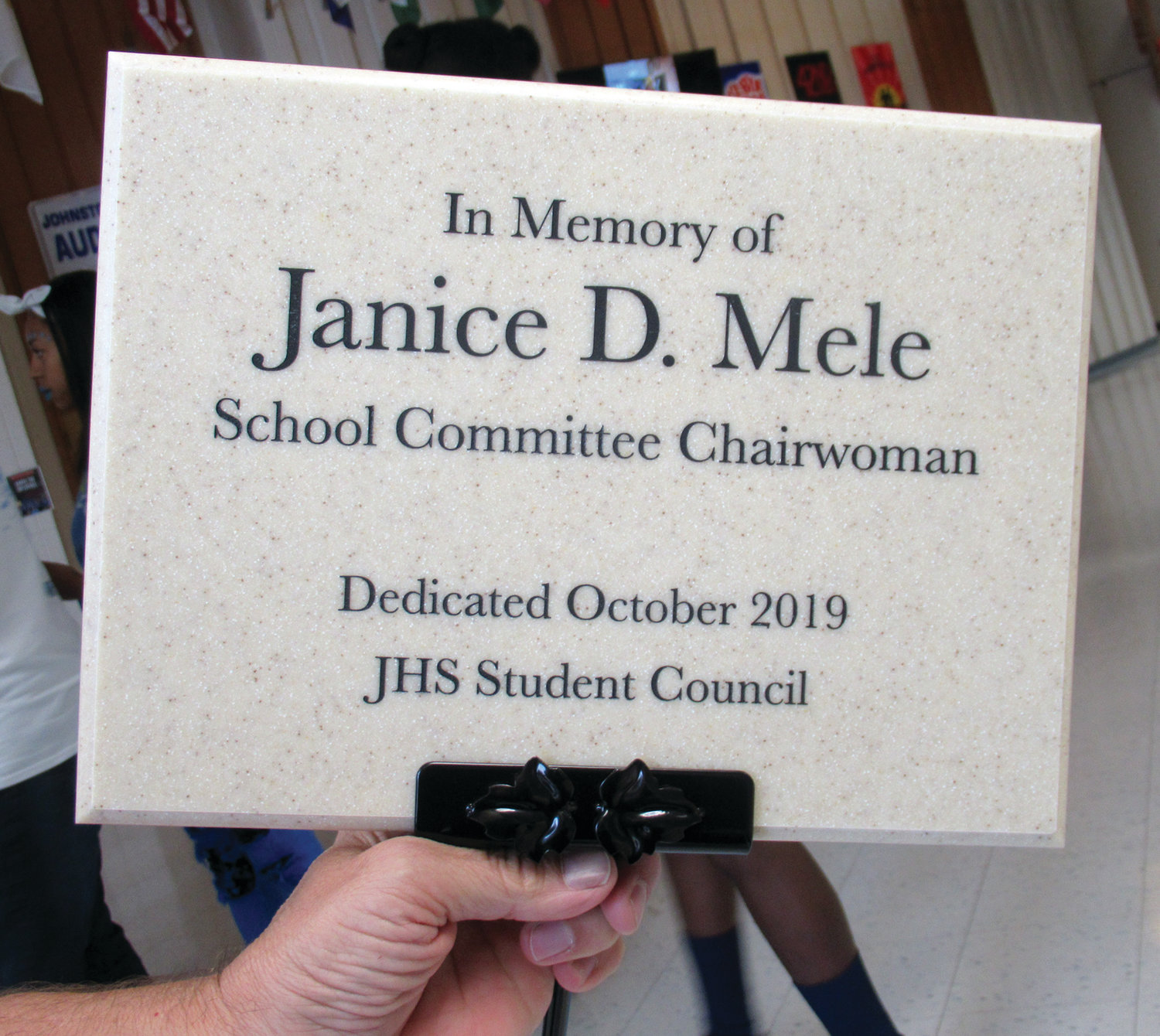 PERMANENT PLAQUE: This is the plaque that the Student Council placed in the ground outside the Johnston High School auditorium and in front of the Japanese maple tree, which was donated by Dino Jacavone of Jacavone's Garden Center as a lasting memorial to the late Janice D. Mele.
