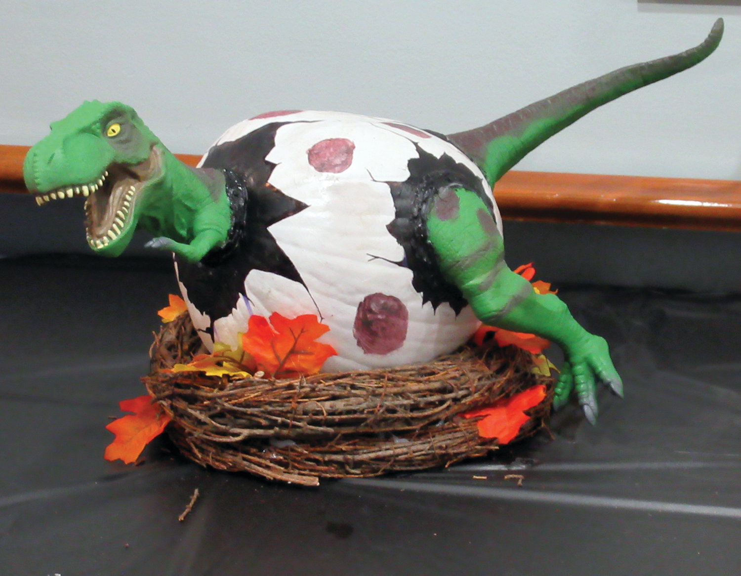 This is the colorful and creative dinosaur pumpkin that took first place in Saturday's Employee Appreciation Halloween Party contest.