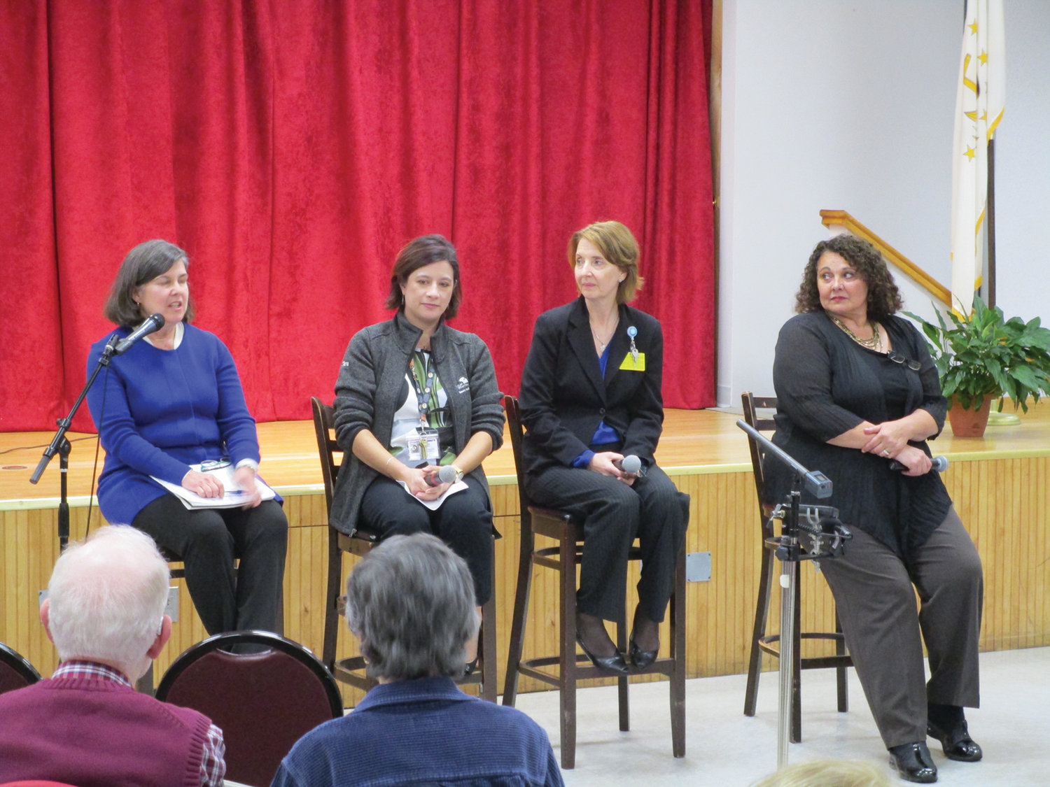 "RI RESEARCH: Catherine Taylor, left, served as moderator of last week's ""Alzheimer's Disease: Finding Hope Through Research"" discussion at the Cranston Enrichment Center. Panelists, from left, were Tara Tang, Terry Fogerty and Anne Cerullo."