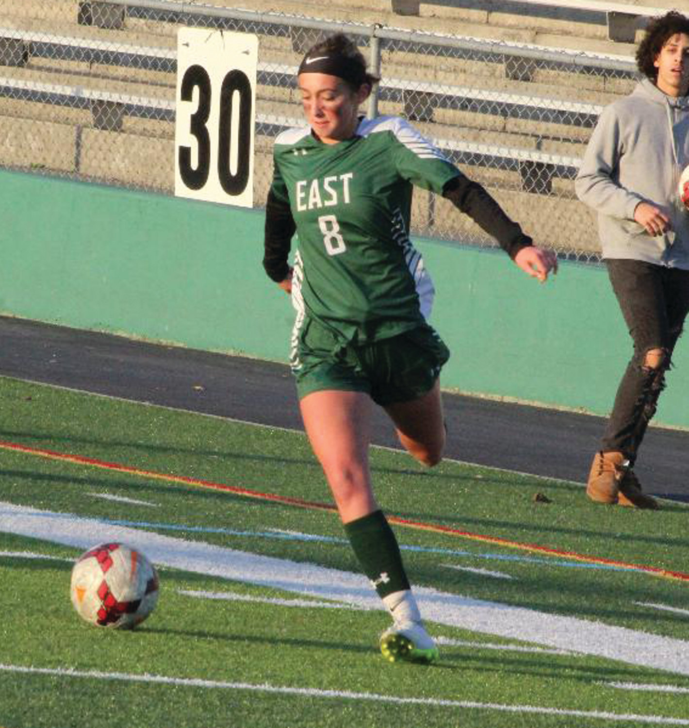 PLAYOFF SOCCER: Cranston East girls soccer player Abigail Cahill looks to pass against Rogers in the DIII Quarterfinals.