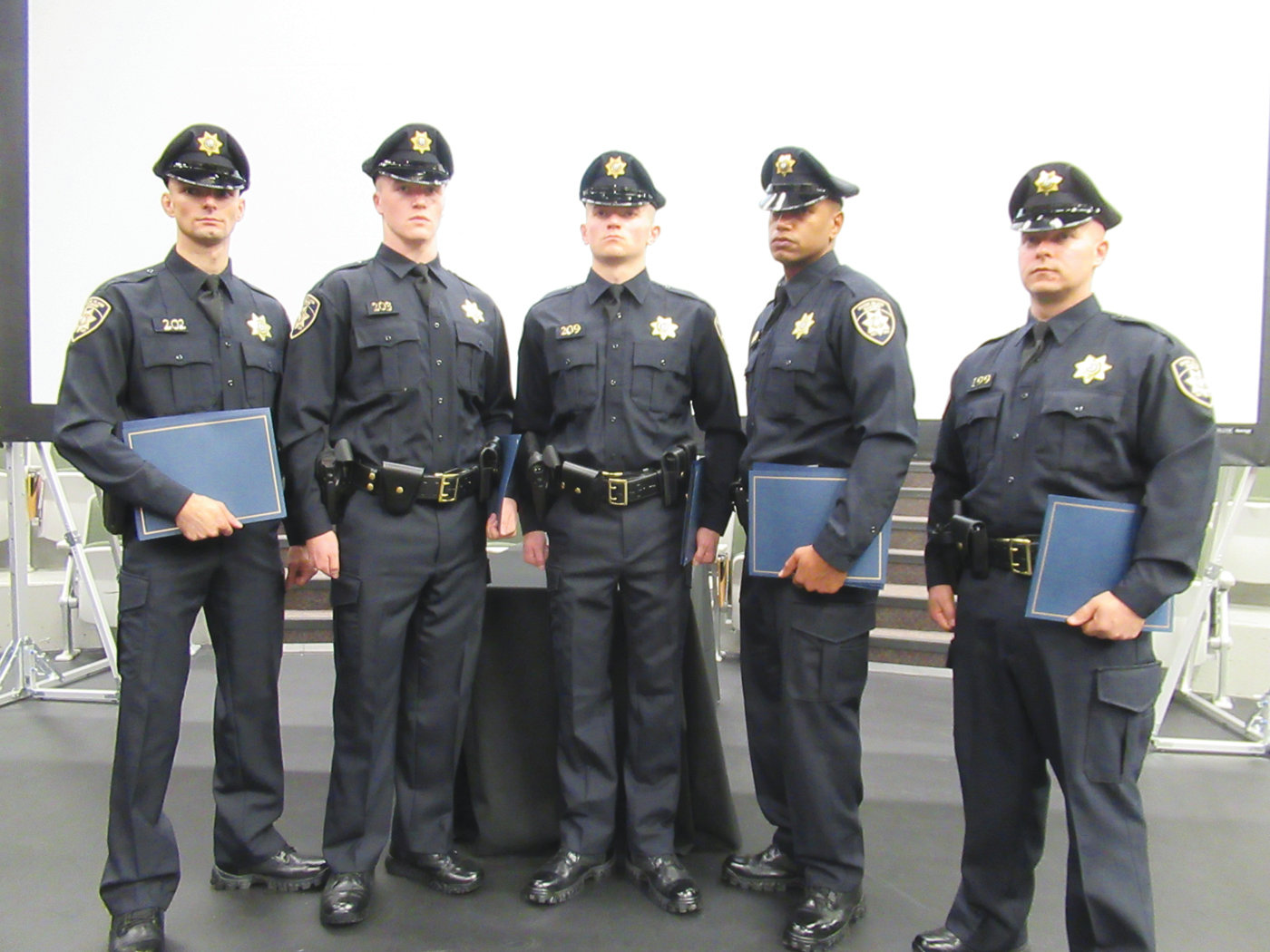 AWESOME AWARDS: These men won individual recognition awards during the grueling 7-week RI Sheriffs Recruit Training Academy. They are from left: John D. Dubois, Valedictorian; Bryan T. Boden, Physical Fitness; Samuel D. Kershaw, Firearms; Francisco A. Picon, Leadership; and Jeffrey St. Jean, Peer Recognition.