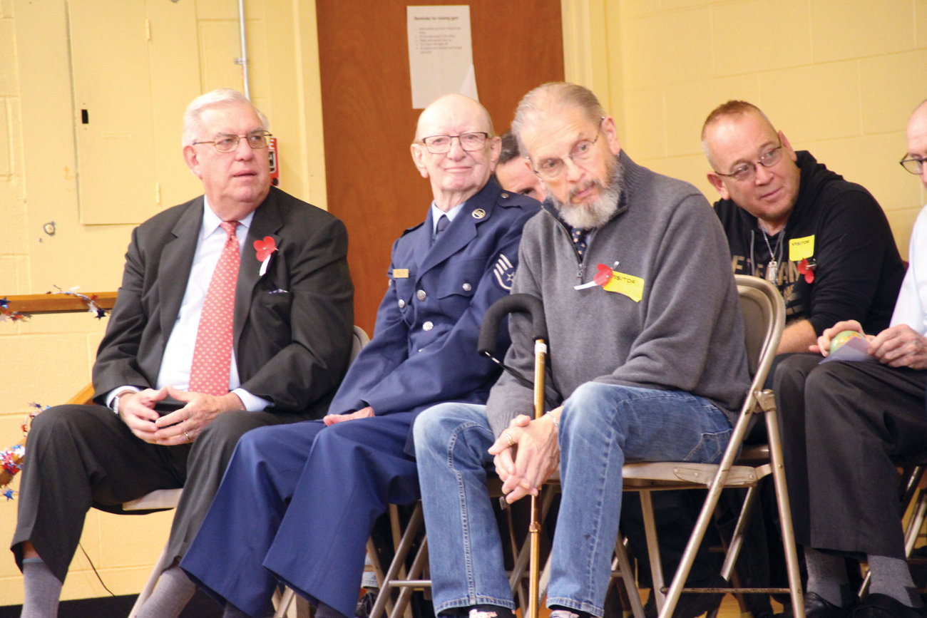 Veterans Paul Martineau, Army National Guard; Walter Kelly, Air Force and David Parker, Army had front row seats at Thursday's program.