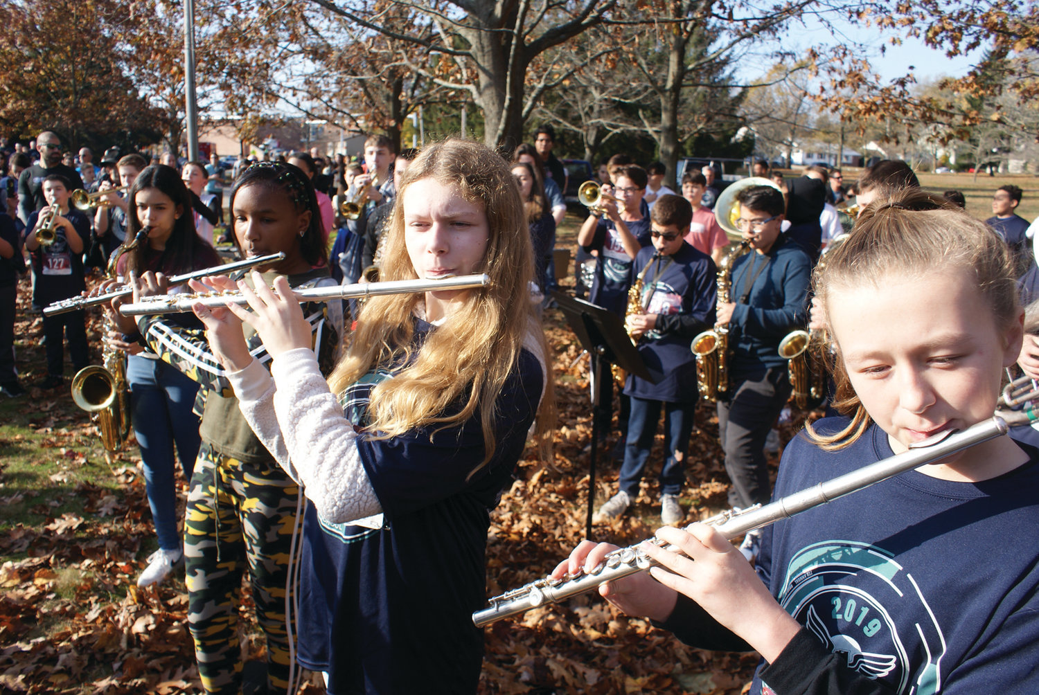 AND THE BAND PLAYED ON: The Park View Band performed the national anthem before the start of Monday's 5K.