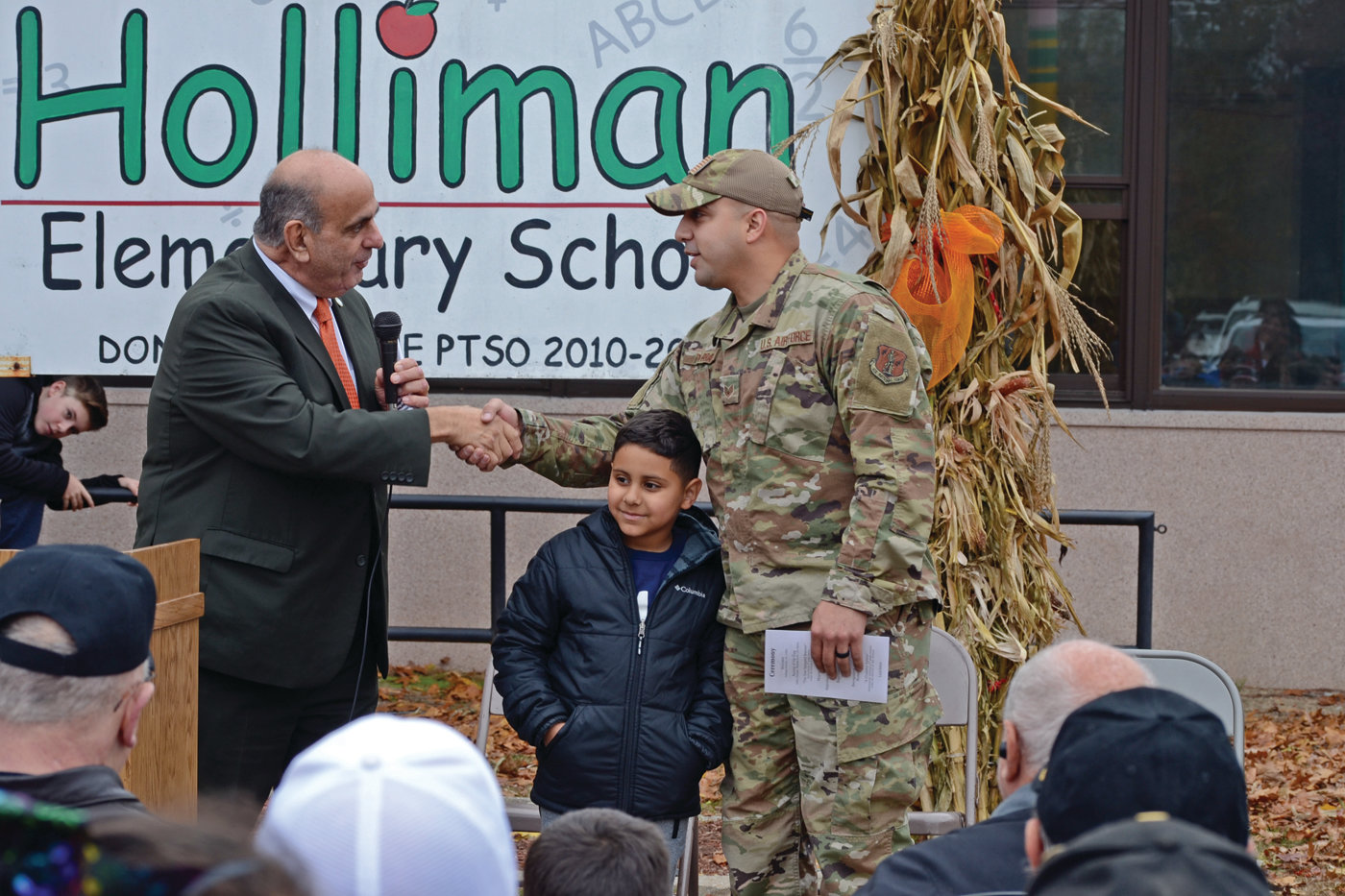 EXAMPLE OF SERVICE: Mayor Joseph Solomon asked Army National Guardsman Manuel Parra, and his son Manny, a student at Holliman, to be recognized at the ceremony as an example of the sacrifices made by service men and women.
