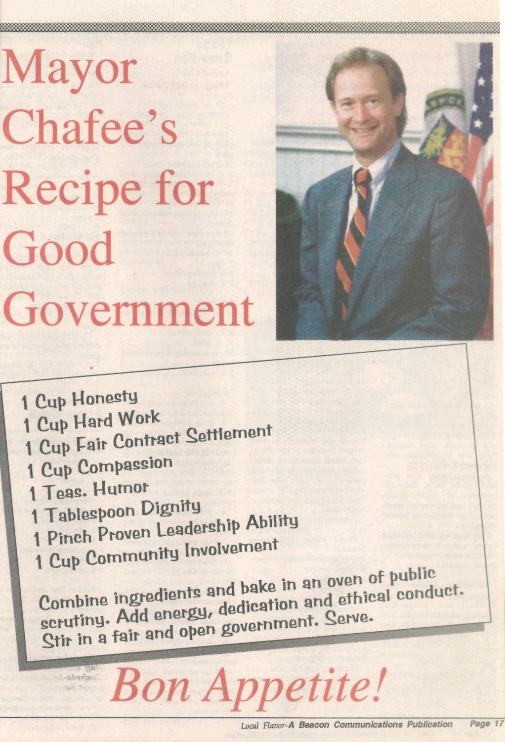 "CIVICS COURSE: Lincoln Chafee got in on the act for the 1997 edition of ""Local Flavor"" while serving as Warwick mayor, offering readers his ""recipe for good government."""