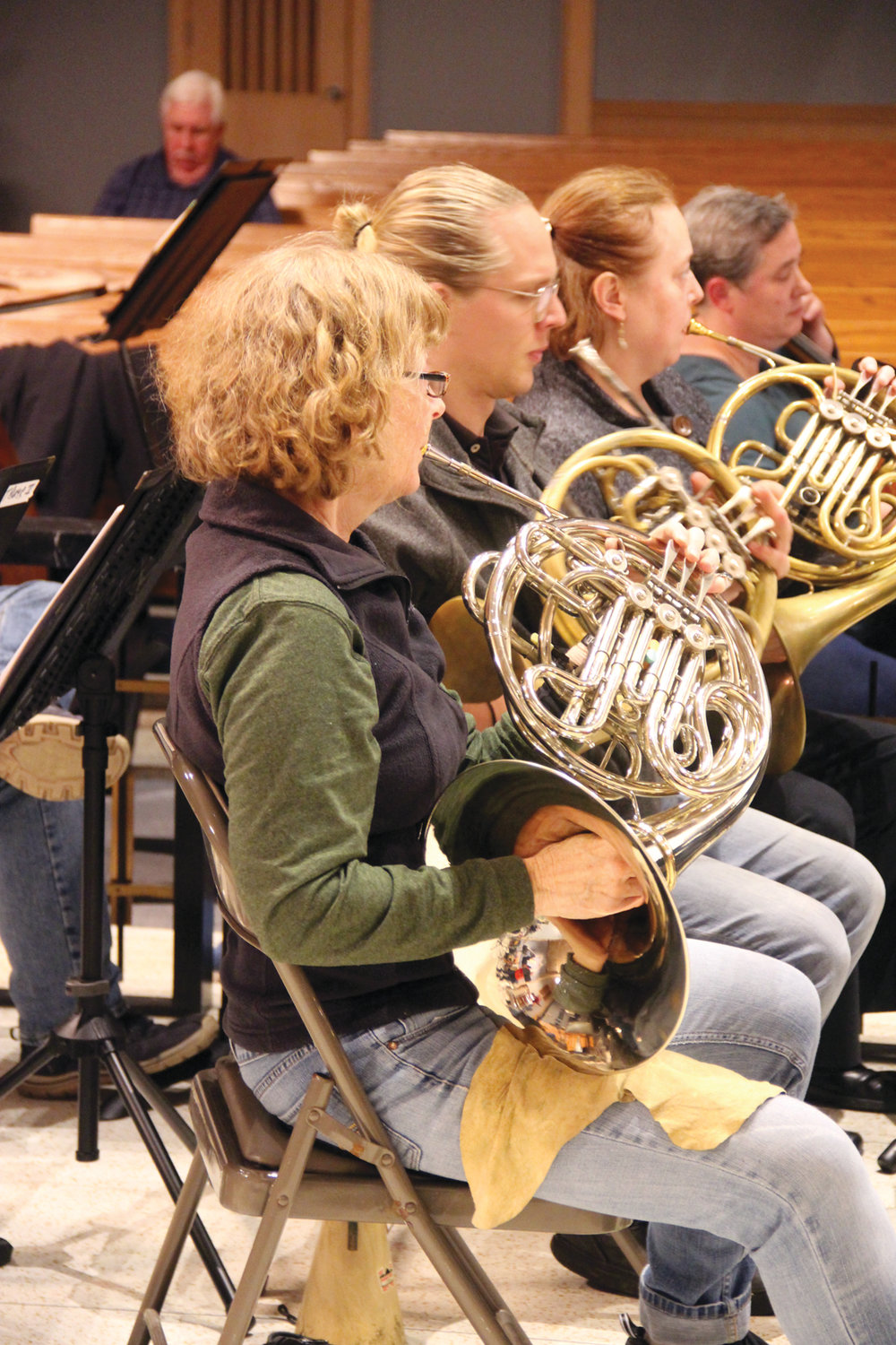 BRING ON THE BRASS: Susan Shippee, Benjamin Franzblau and Susan Wintorbottom rehearse for the upcoming Ocean State Pops Orchestra concerts that will bring together more than 100 musicians and singers from across the state.