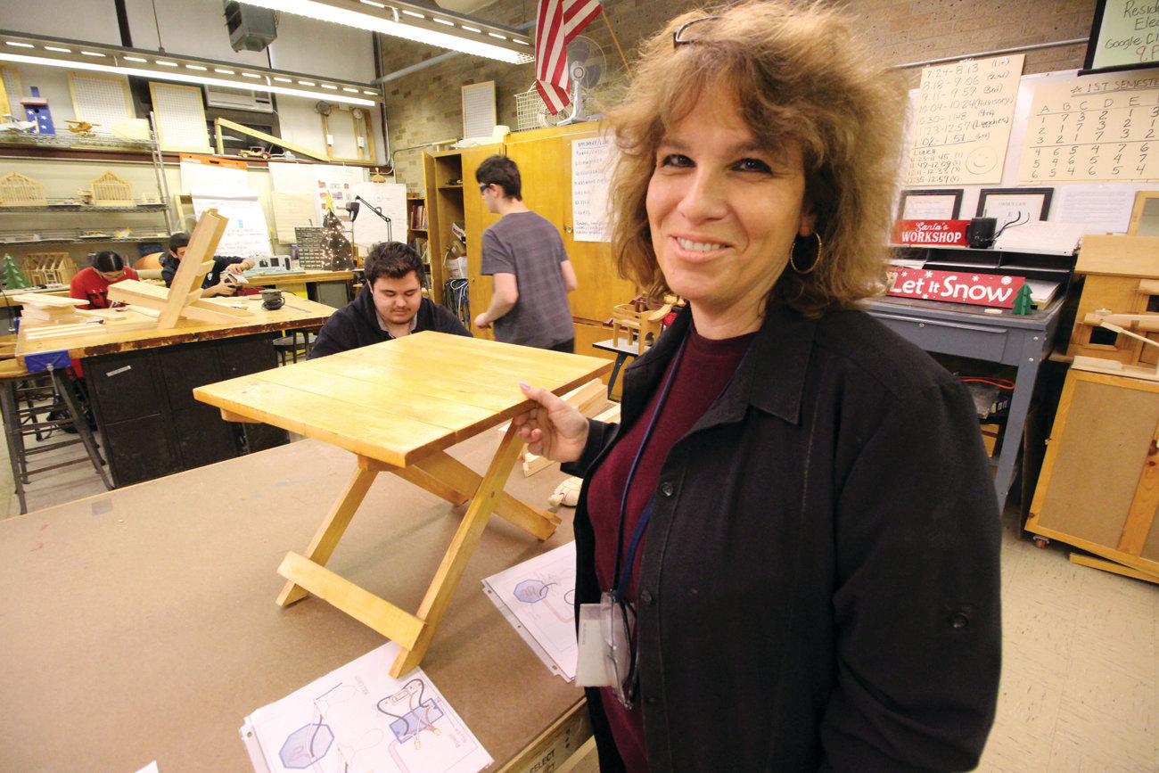 A DREAM COME TRUE: Pilgrim High School teacher Cheryl DelSanto, who applied for a grant for the latest technology for a Makerspace Lab Initiative at the school, is excited by what the Champlin grant will mean for her students.