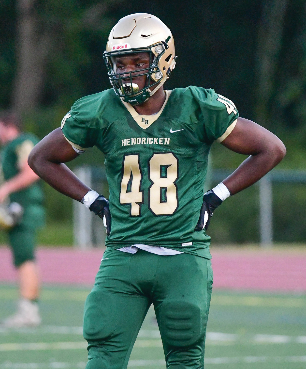 GETTING NOTICED: A handful of Bishop Hendricken football players, including Jason Onye, have been receiving interest from many Division I and II college programs.