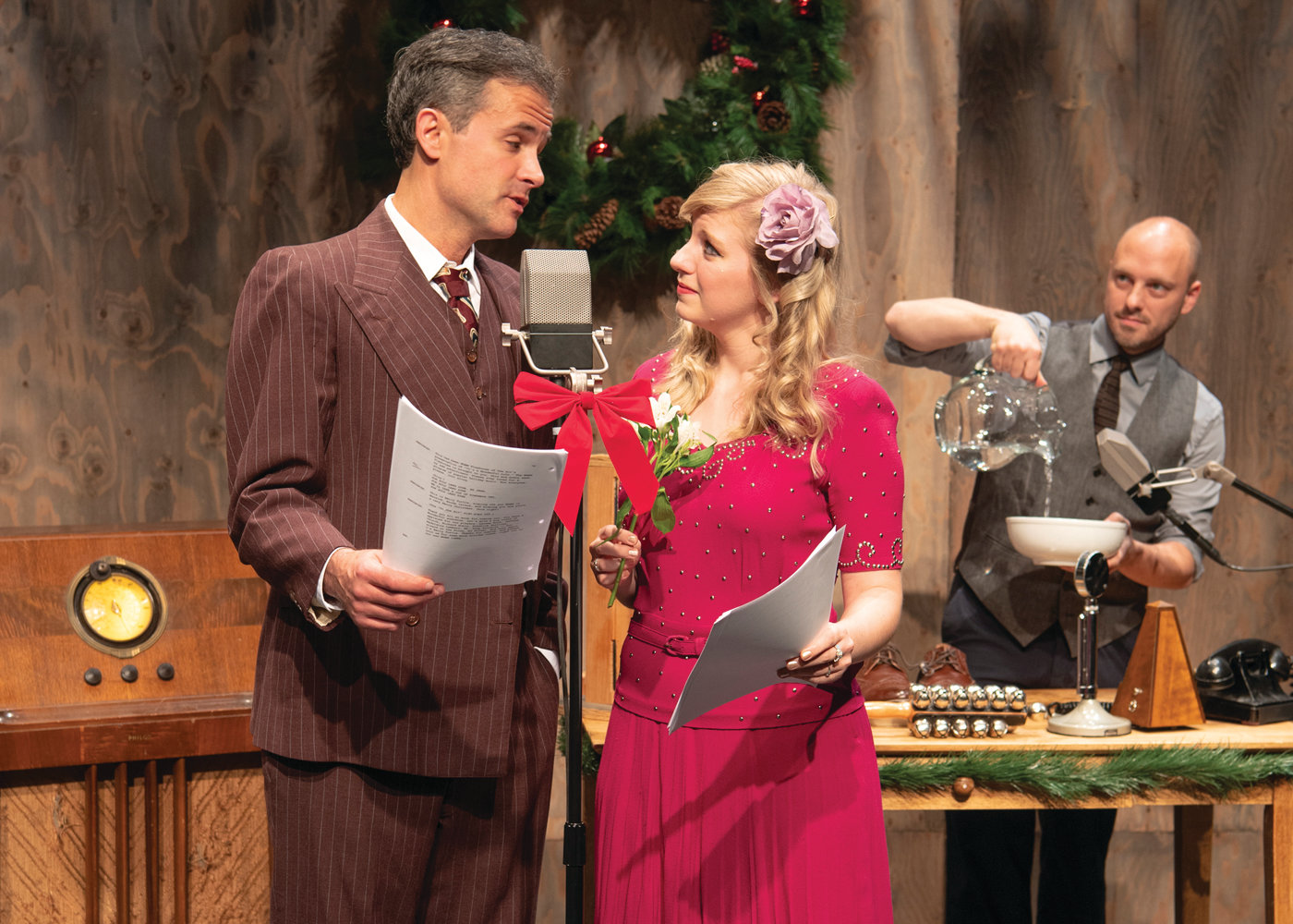 Pictures is the cast of It's a Wonderful Life: A Live Radio Play, being performed at the Sandra Feinstein-Gamm Theatre in Warwick.