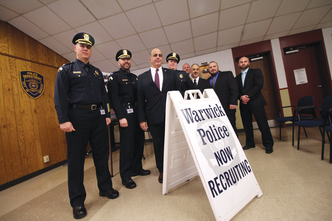GETTING OUT THE WORD: Mayor Joseph Solomon joined members of the Warwick Police Department Wednesday to promote the recruitment drive that runs now through Jan. 31, 2020.