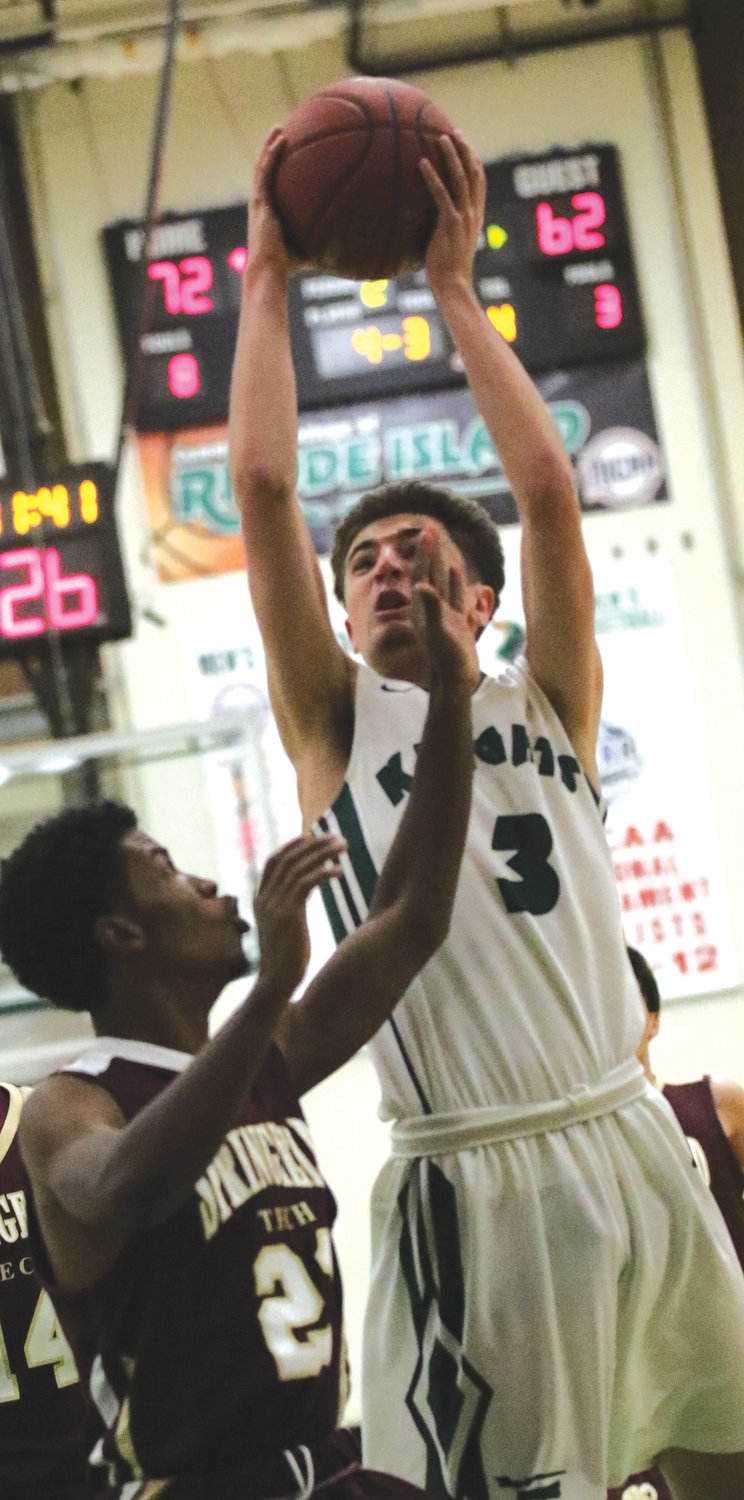 HARD IN THE PAINT: CCRI's Dylan Durante earlier this season.
