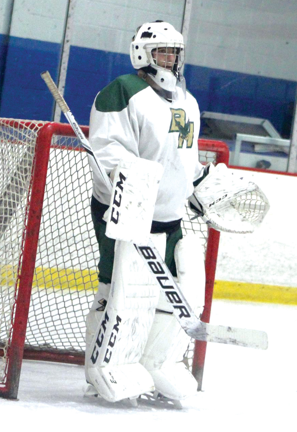 BETWEEN THE PIPES: Hendricken goalie Zach Marzano.