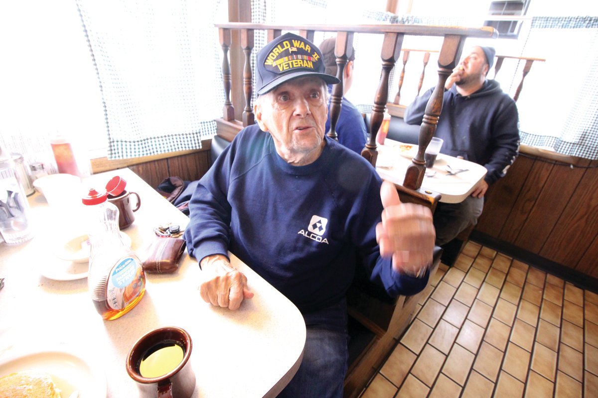RIGHT AT HOME: World War II veteran Bob Gorman, who remembers meeting General George Patton during the Battle of the Bulge – and will tell you the story – and his wife, Ann, visit the diner at least twice a week.