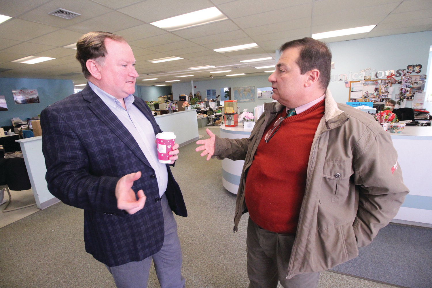LEADERS LOOK AHEAD: Senate Majority Leader Michael McCaffrey, left, and House Majority Leader K. Joseph Shekarchi outlined their priorities for the coming legislative session during a recent visit to the Beacon Communications offices in Warwick.