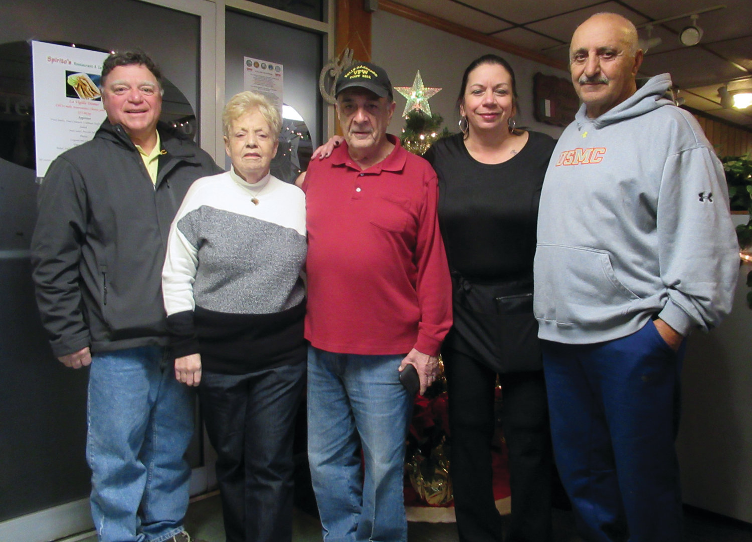 GAME GANG: Among the many people who are helping organize the Richard D. Salzillo Memorial Game Dinner that will be held on Sunday, Jan. 26, 2020, are, from left, Steven Placella, Geri Spirito, Kelley-Gazzerro VFW Post 2812 Commander Ron DiMaio, Jackie Brodeur and Vin LaFazia.