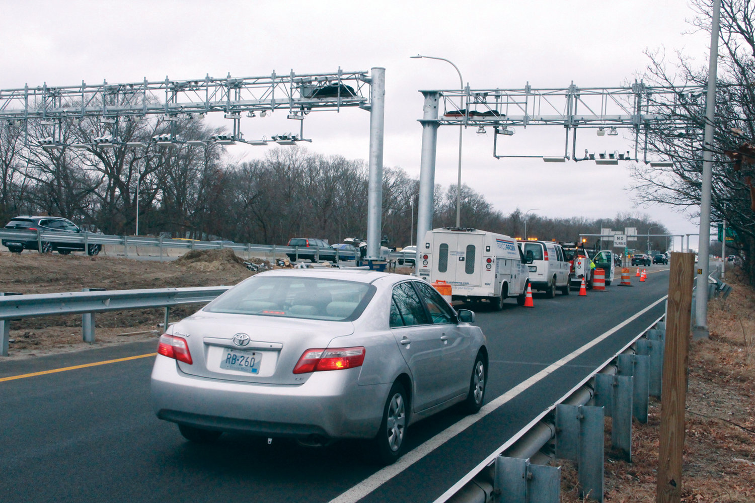 EYES ON THE ROAD: Gantries designed to toll trucks are being erected on Interstate 95 and at the Centerville Road on-ramp to northbound traffic in Warwick. The statewide system of 12 gantries is to be completed and operational by June 2020.