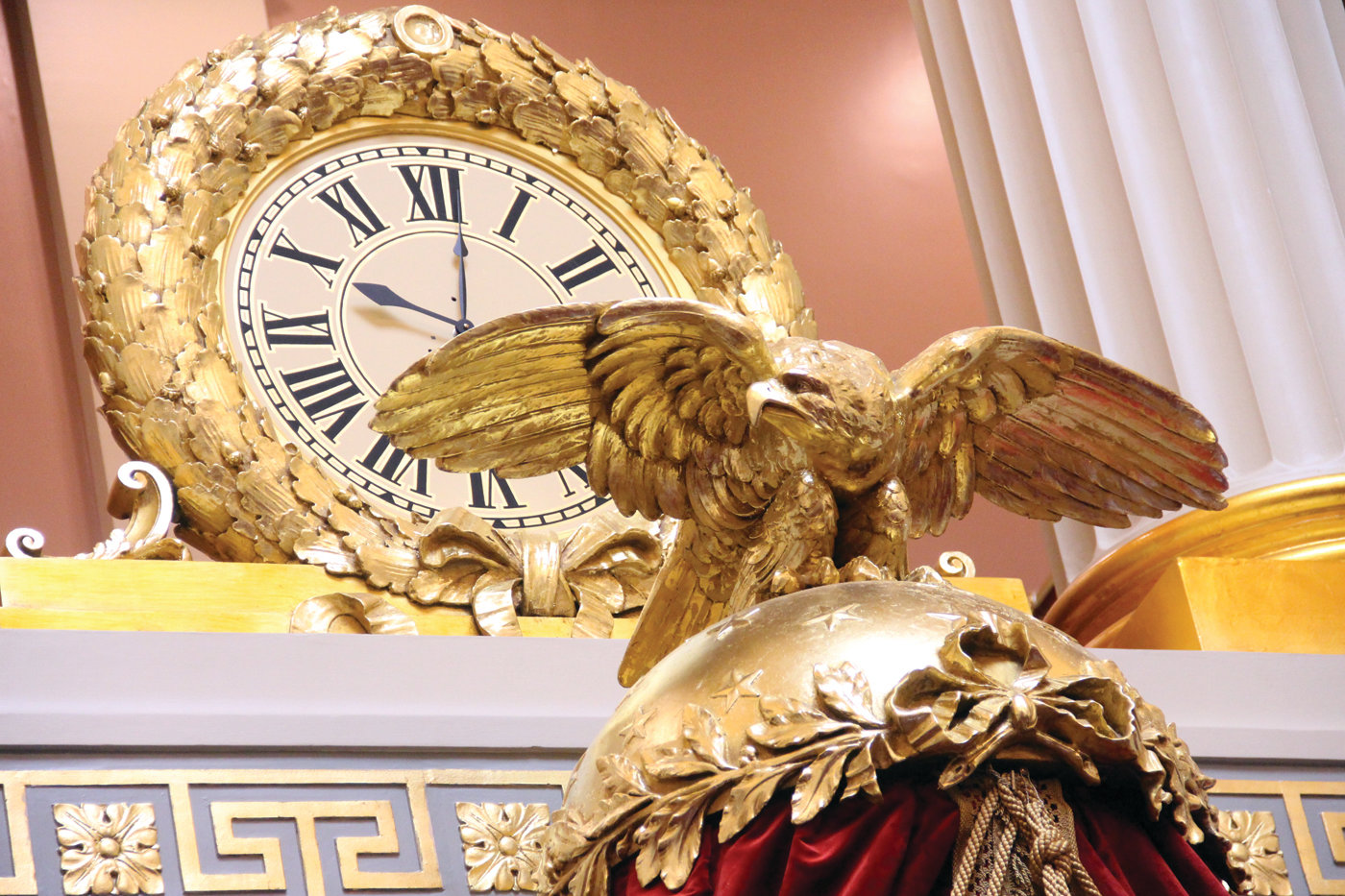 WATCHFUL EYE: The eagle as well as the clock and other gold adornments are sparkling as if new in House chambers.