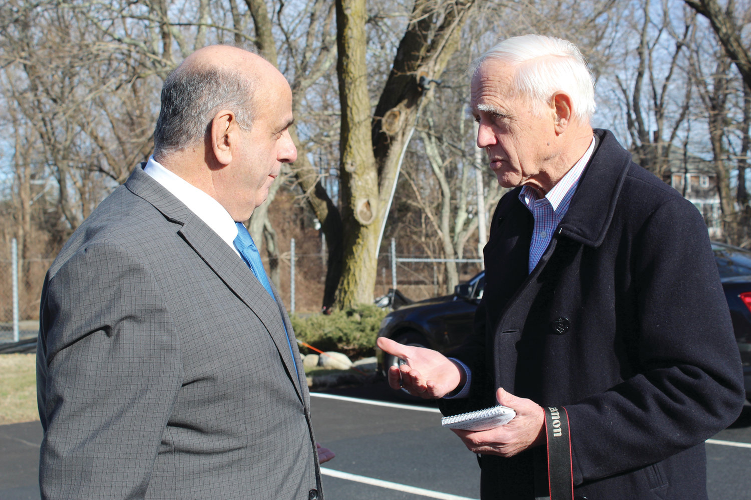 ON THE BEAT: Warwick Beacon publisher and editor John Howell, right, interviews Warwick Mayor Joseph Solomon on Tuesday at Warwick City Hall. Howell, who also publishes the Cranston Herald, purchased the Beacon in late 1969.