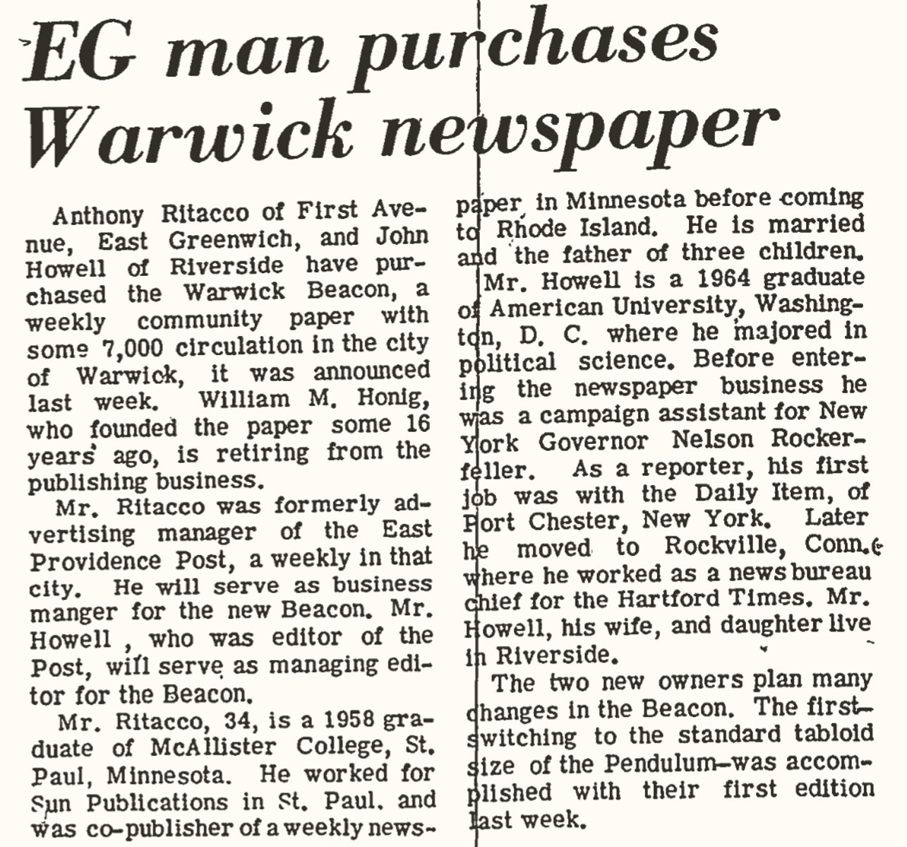 MAKING NEWS: A 1969 clip from the East Greenwich Pendulum announces news of the Warwick Beacon's sale to John Howell and Anthony Ritacco.