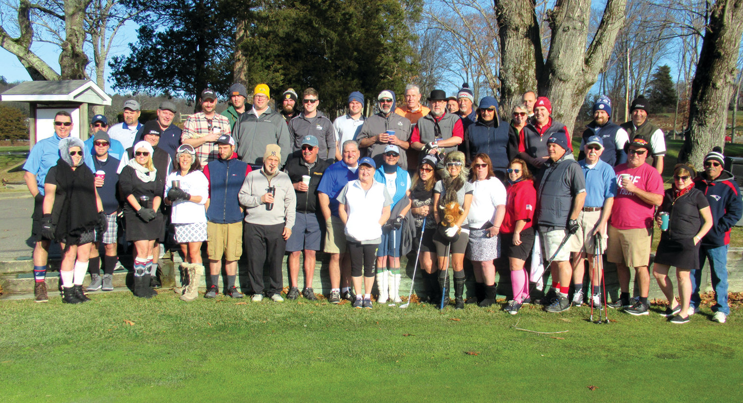 TOASTED TRADITION: This is the record-setting 42-golfer field that teed off on New Year's Day 2020 at Glocester Country Club for the JMCE's 6th Annual Polar Golf Tournament.