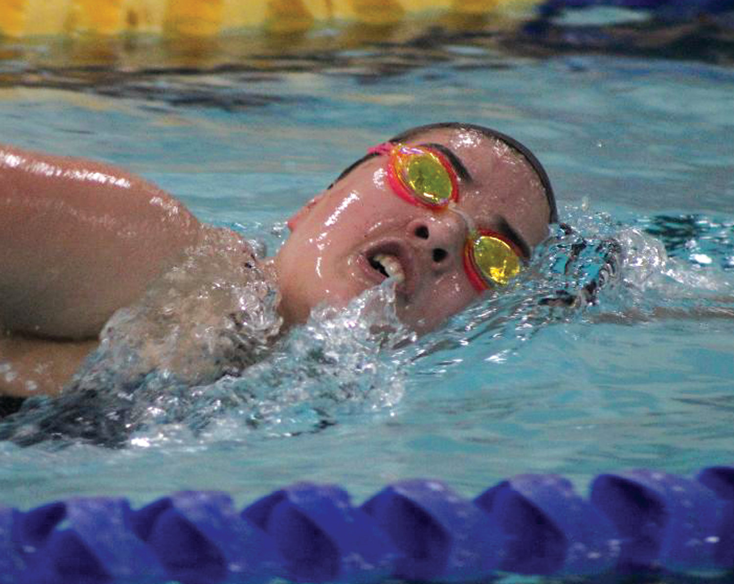 MAKING A SPLASH: Pilgrim's Emily Diggle competes against North Providence last week.