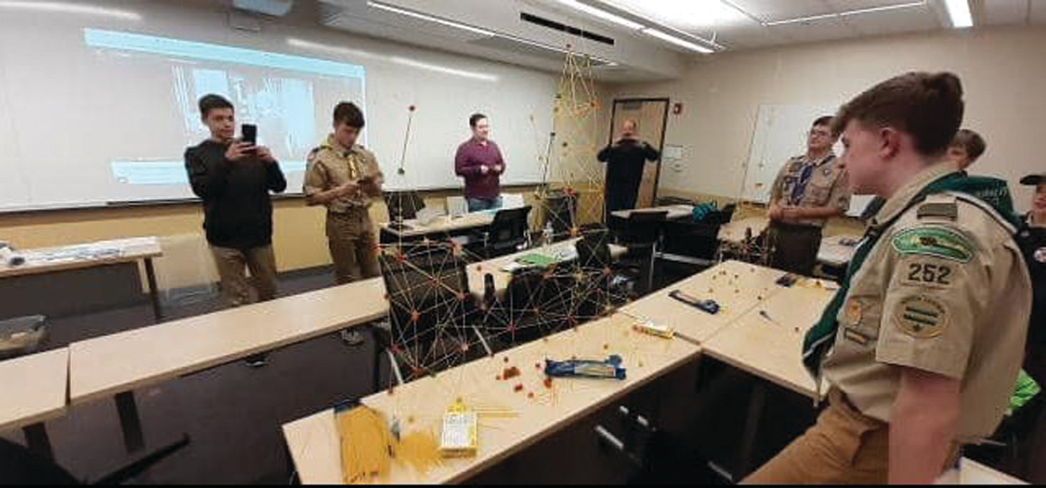 BUILDING KNOWLEDGE: Scouts take part in the Architecture merit badge course during the Merit Badge College event held Jan. 4.
