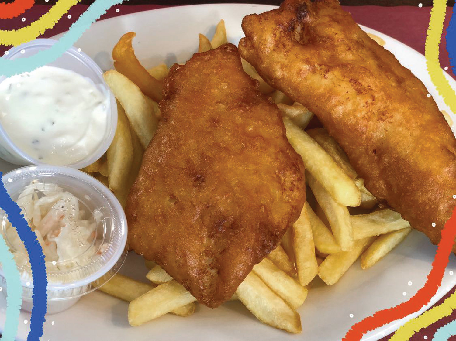 Diners will find mouth-watering dishes like these crunchy, golden-brown Fish & Chips at Beach Café & Pub. Come inside this winter and enjoy their BOGO Special on Mondays – buy one burger, get the second one free with the purchase of a beverage (for dine-in guests only!)