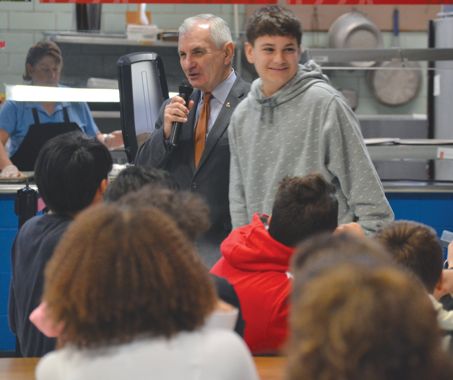 SMILES ALL AROUND: Ferri Middle School student Daniel Wulf, who facilitated U.S. Sen. Jack Reed's visit, had the honor of providing an introduction.