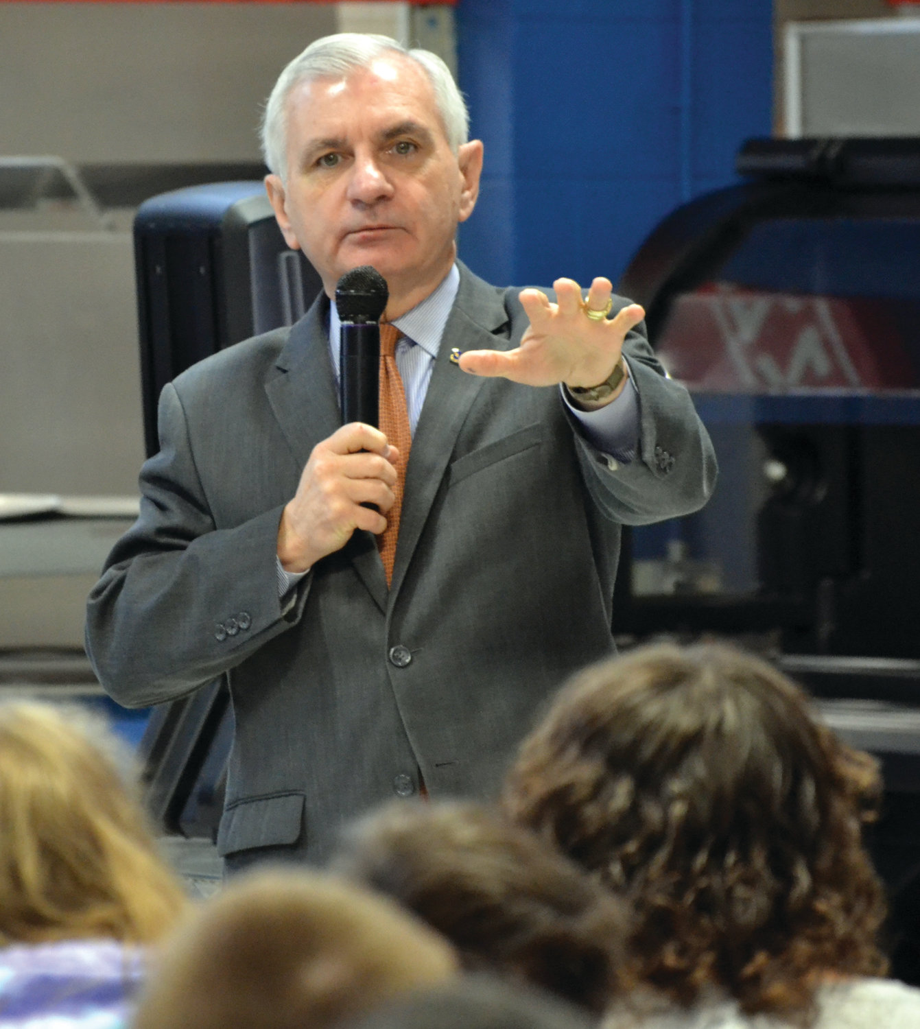 BEHIND THE SCENES: U.S. Sen. Jack Reed (above) stopped by Ferri Middle School on Monday morning to give students (below) background on how the House and Senate operate. He also answered a few questions, ranging from state infrastructure to impeachment.