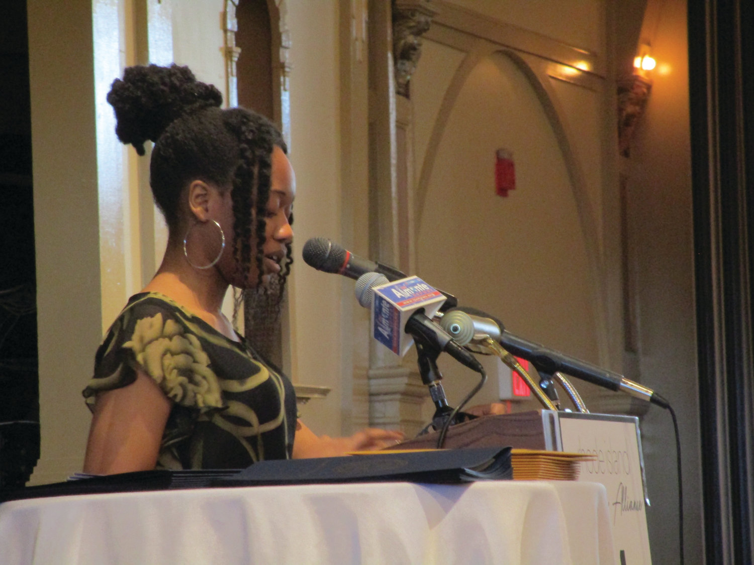 FUTURE LEADER: Scholarship recipient Blessed Sherrif shares a portion of her essay during Monday's breakfast.