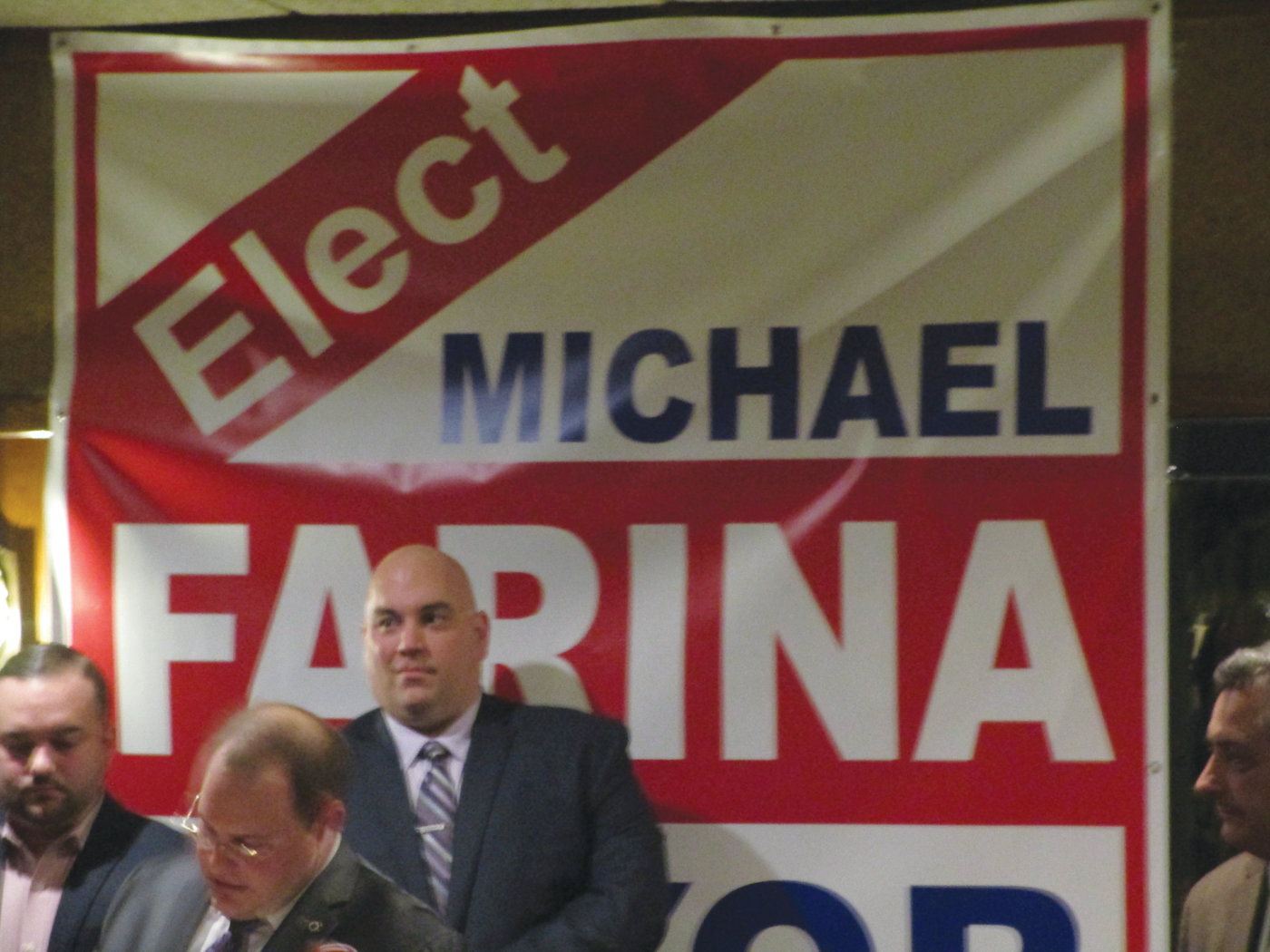 City Council President Michael Farina is pictured during his mayoral campaign announcement earlier this year.
