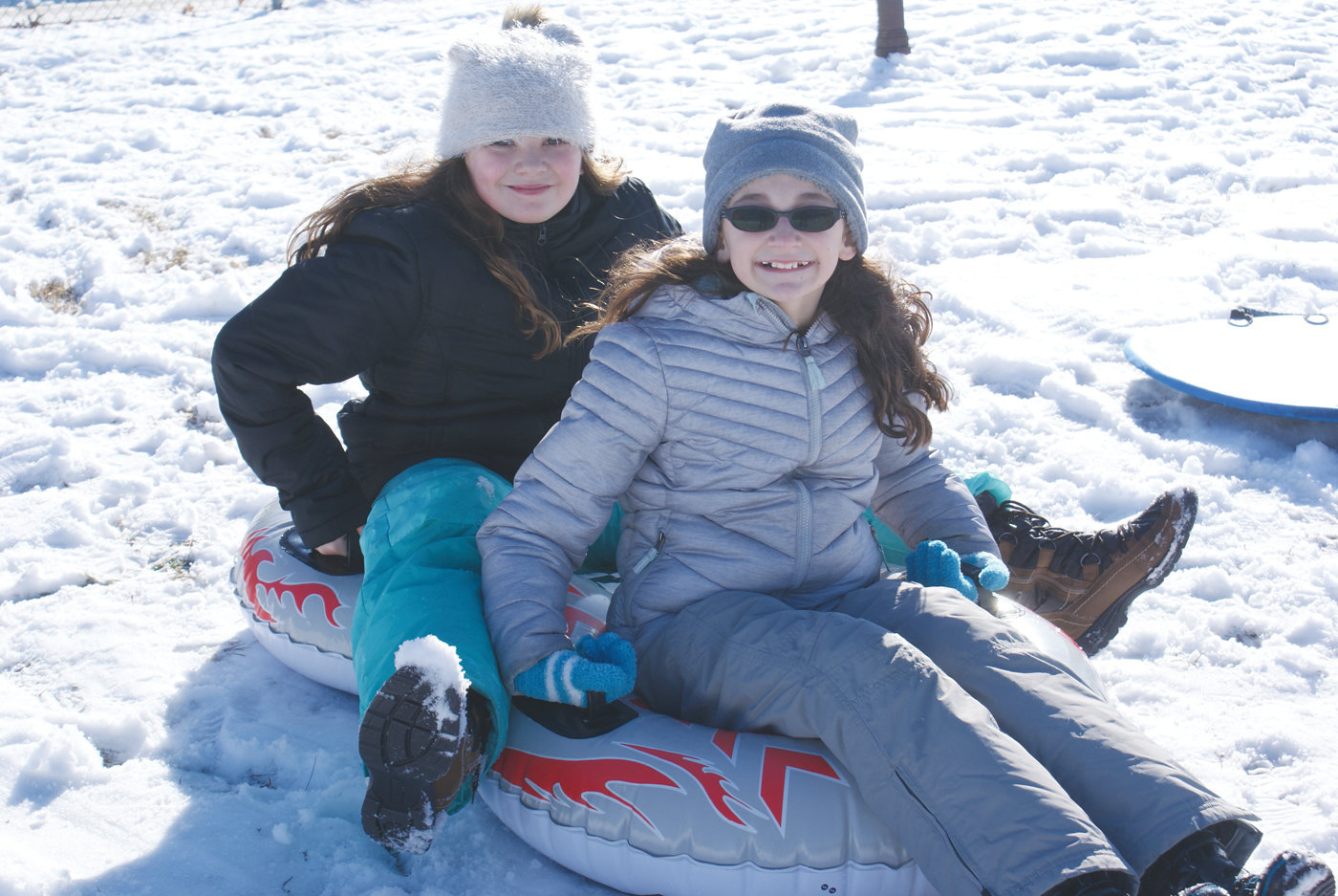 CLASSMATES: Classmates at Glen Hills Elementary School classmates Kaylee Loffredo, 11, and Jaelyn Cogean, 10, hit the slopes together.