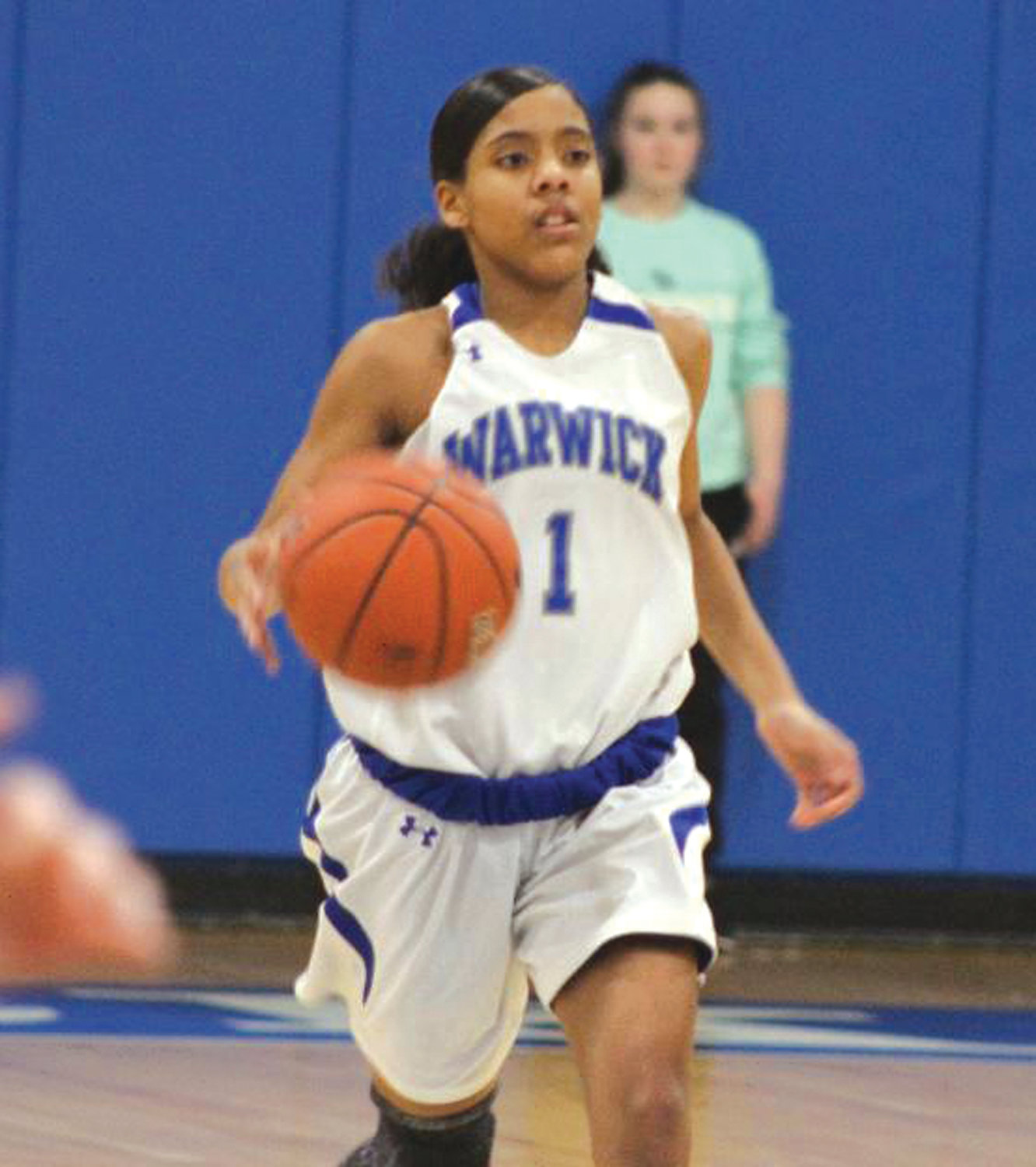 AT THE POINT: Warwick Vets' point guard Armani Rivera takes the ball up the court against Winman. Rivera has been a key piece to the Hurricanes' undefeated season.