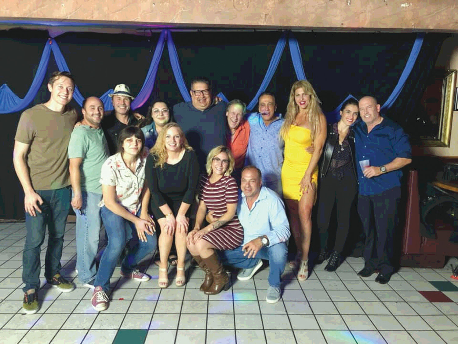"ON LOCATION: Cast and crew of ""Made in Rhode Island"" gather for a photo. Koby Gartner is at the extreme left. Carm DeMaio is fifth from left in top row, and David Weinberg is in the bottom row at extreme right."