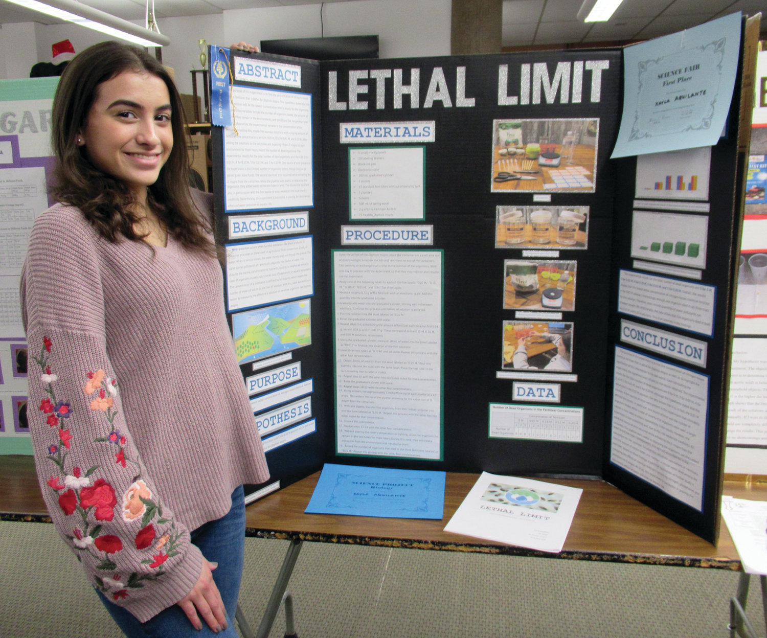 "TOP MARKS: ""Lethal Limit"" was the title of junior Kayla Aquilante's first-place winning project"