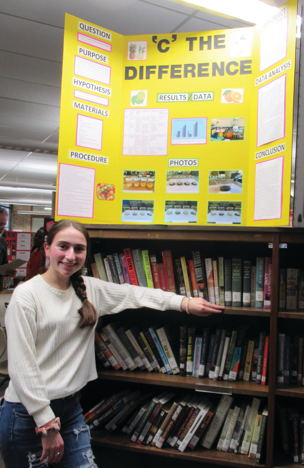 "ONE OF SIX: JHS junior Grace Centracchio's ""'C' the Difference"" entry was one of only six first-place finishers in last Thursday's Science Fair."