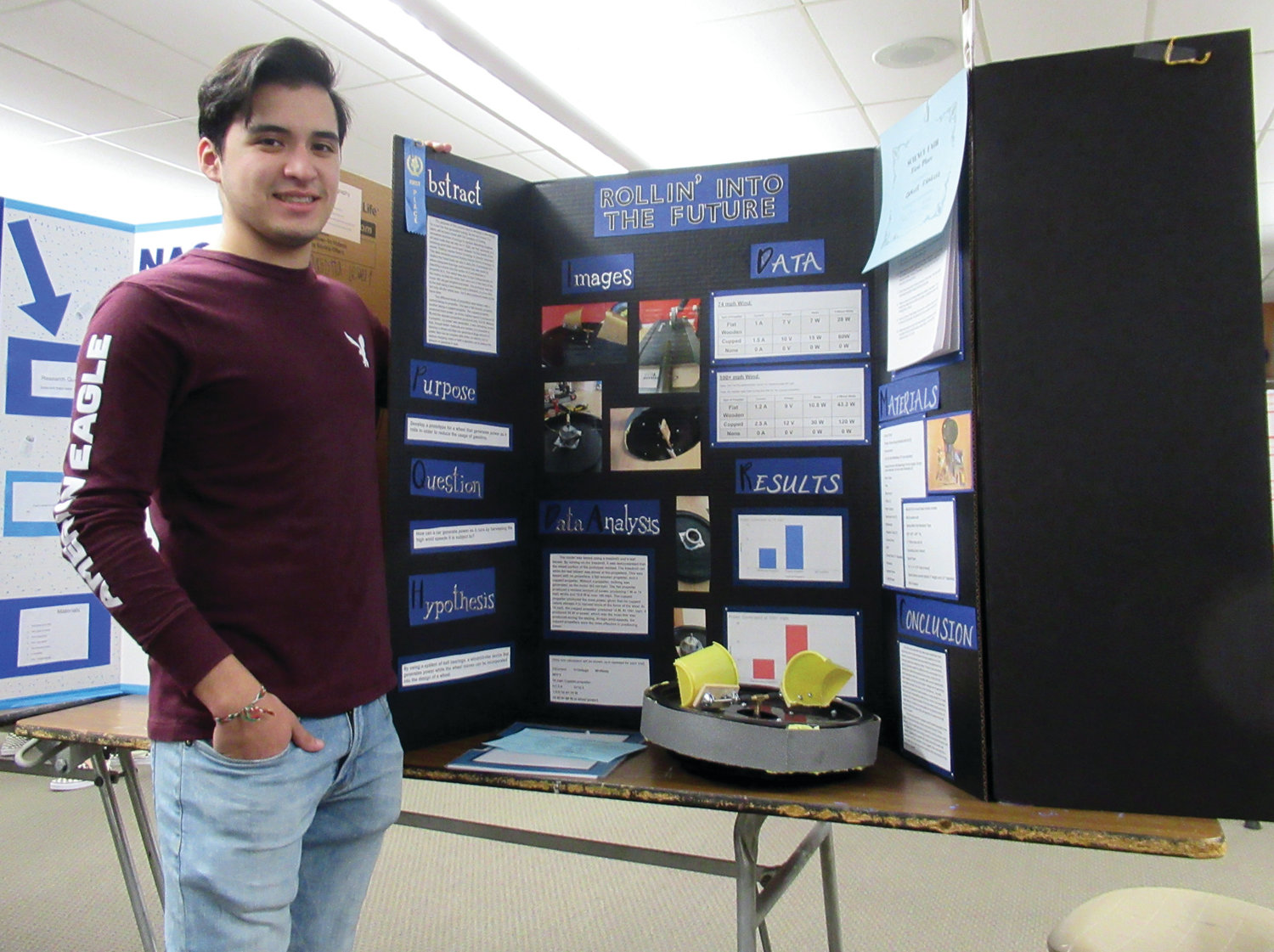 "ROLLIN' TO VICTORY: Carlos Fragoso, the No. 1 high school clarinetist in the state, landed first place with his ""Rollin' into the Future"" Science Fair project."