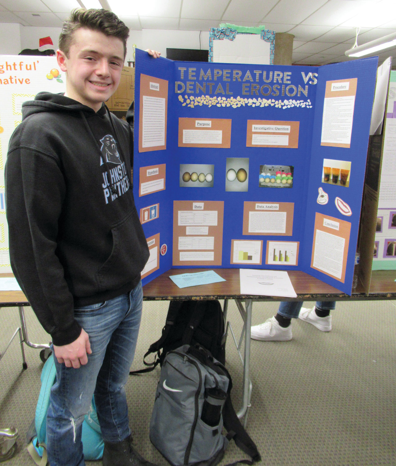 "DOUBLE DUTY: Junior Nicholas Petrillo, who doubles as the JHS Student Council president, won first place in the Science Fair with his ""Temperature vs. Dental Erosion"" project."