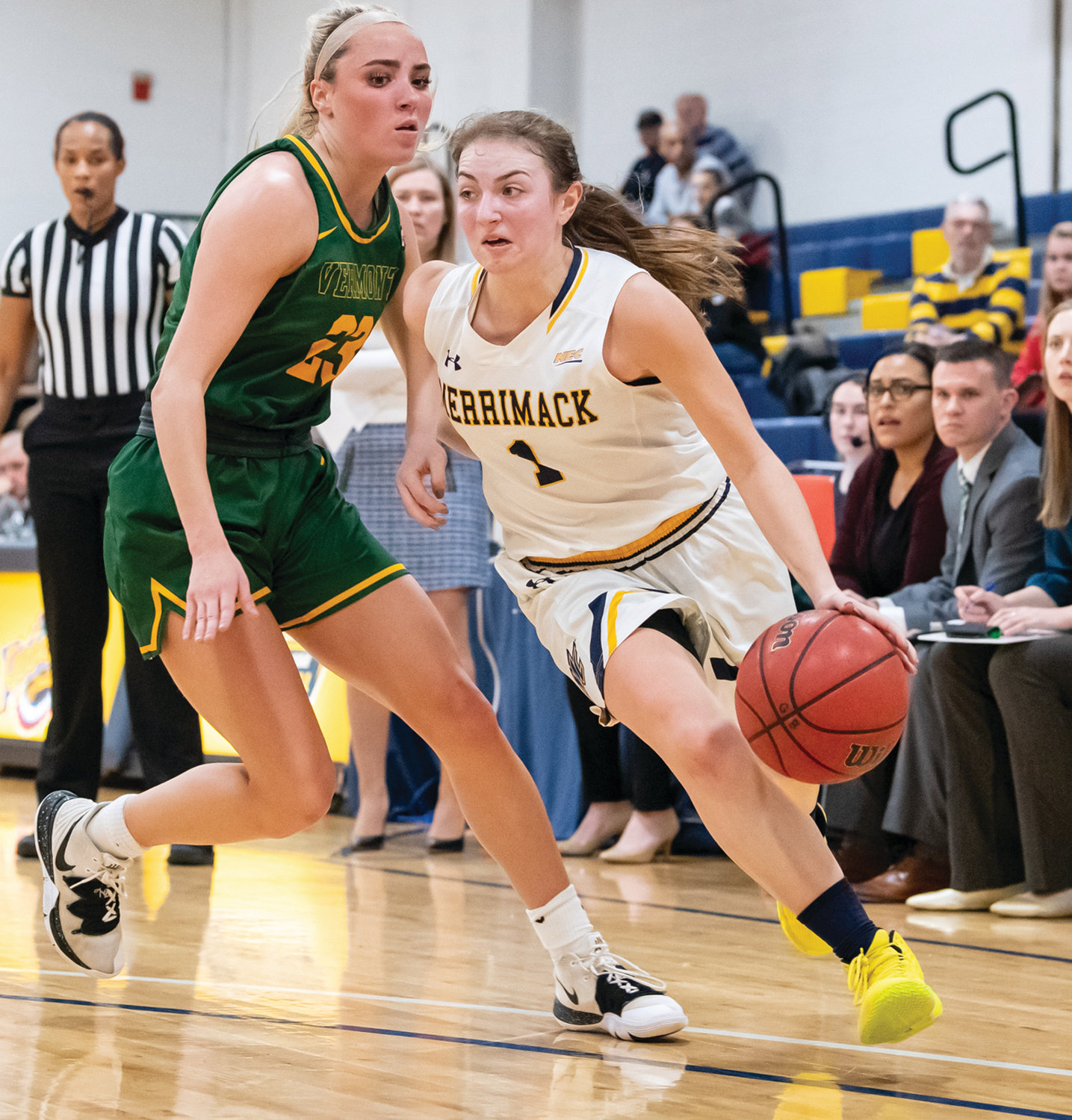 RUNNIN' ROOKIE: Johnston's Jayme DeCesare has been dribbling past all opponents in her freshman season at Merrimack College in North Andover, Ma. and just last week the daughter of David and Joann DeCesare was named the Northeast Conference's Co-Rookie of the Week. RUNNIN' ROOKIE: Johnston's Jayme DeCesare has been dribbling past all opponents in her freshman season at Merrimack College in North Andover, Ma. and just last week the daughter of David and Joann DeCesare was named the Northeast Conference's Co-Rookie of the Week.