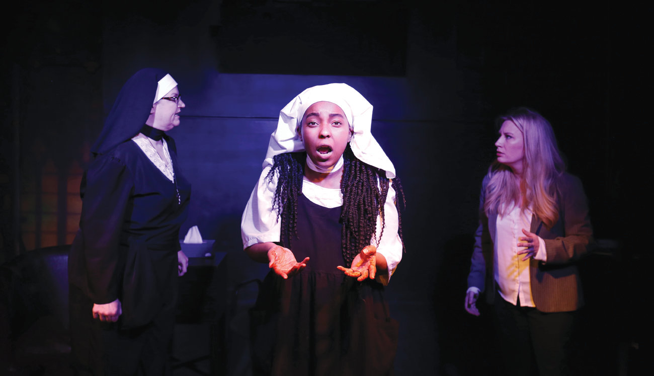 "Lee Rush, Angelique Dina and Melanie Stone in ""Agnes of God."""