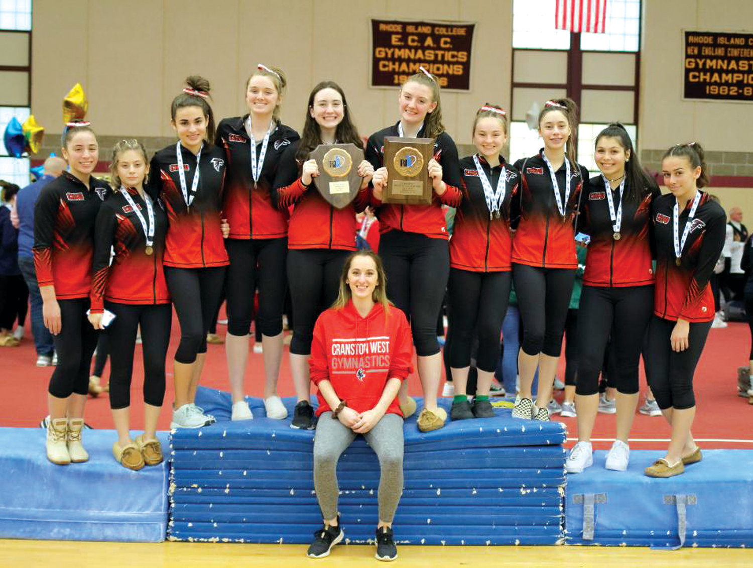 STATE CHAMPS: The Cranston West gymnastics team.