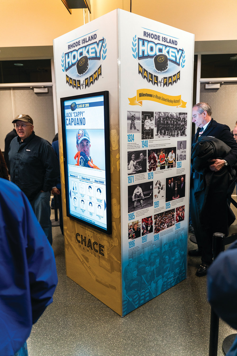 "LEGENDARY LINK: This is the Rhode Island Hockey Hall of Fame's new ""Wall of Fame"" interactive kiosk."