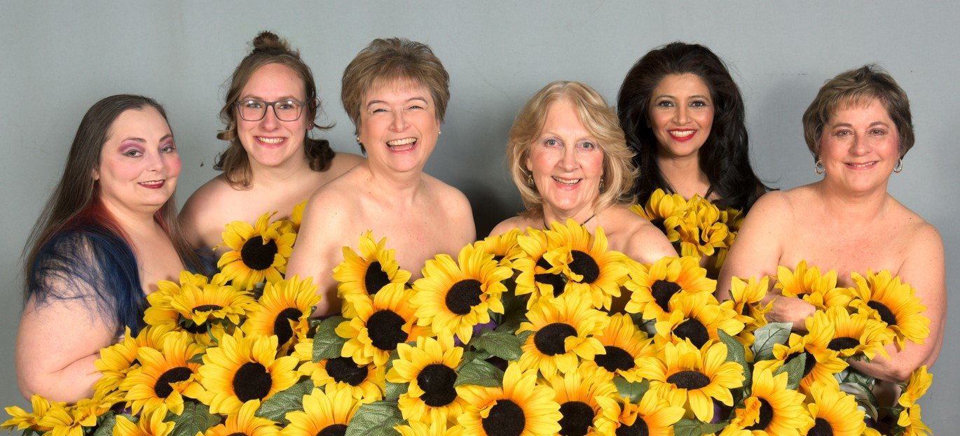 "Sunflower Ladies: (from left) Sylvia A. Bagaglio as Cora, Susan Martin as Ruth, Karen Gail Kessler as Chris, Heather Carey as Annie, Prreeti Tiwari as Celia and Lynn Price as Jessie star in The Community Players' production of ""Calendar Girls"" through March 1. For tickets visit thecommunityplayers.org or call 726-6860."