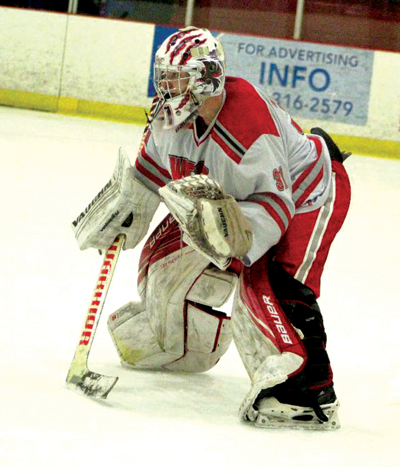 BETWEEN THE PIPES: West goalie Mathew Corrente.