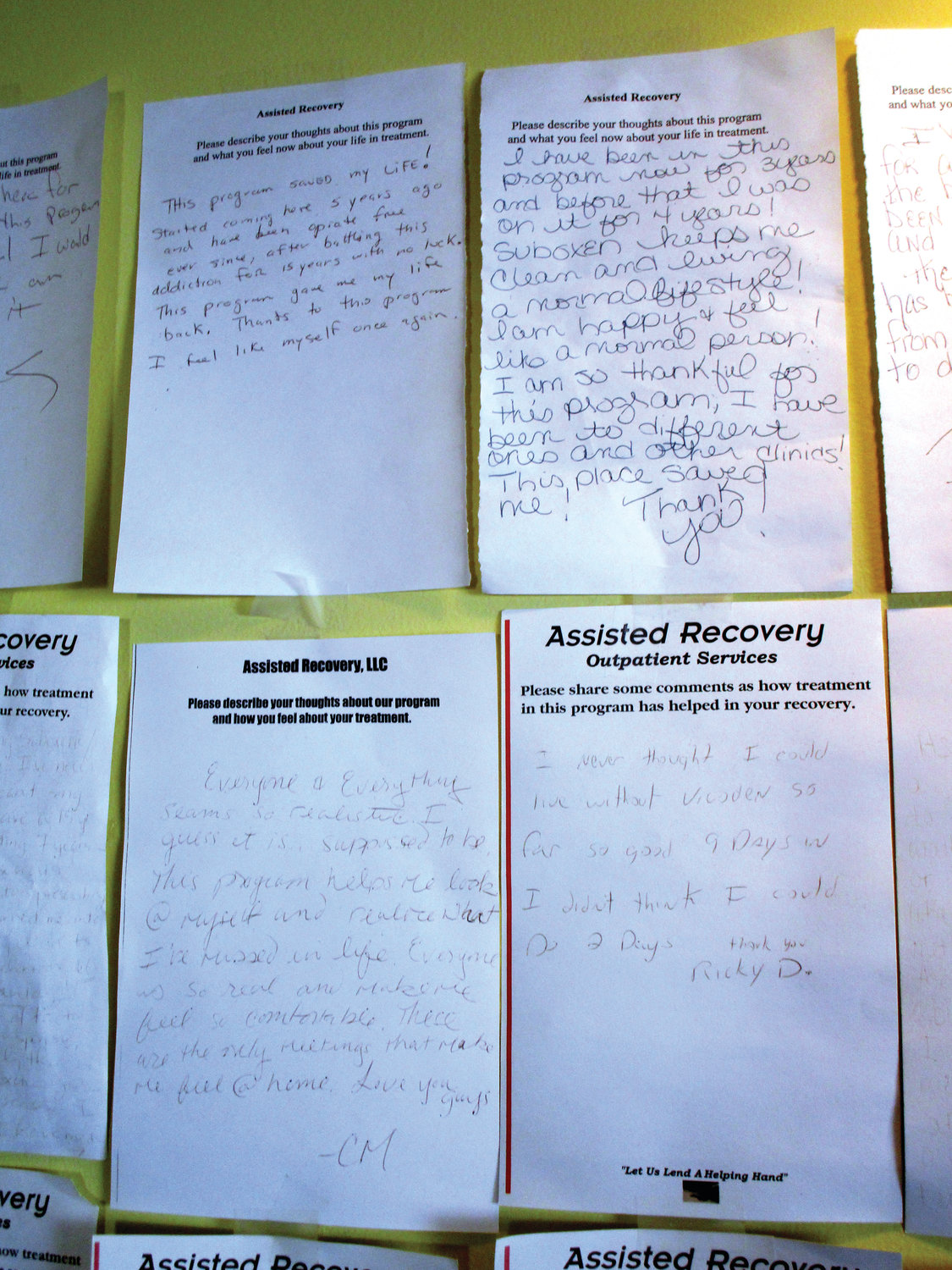 THEIR OWN WORDS: Handwritten notes from people who have received opioid addiction treatment line the walls of a room at Assisted Recovery in Cranston. Samantha Scheer hopes to one day have a similar set of testimonials from clients at Drink-Less.