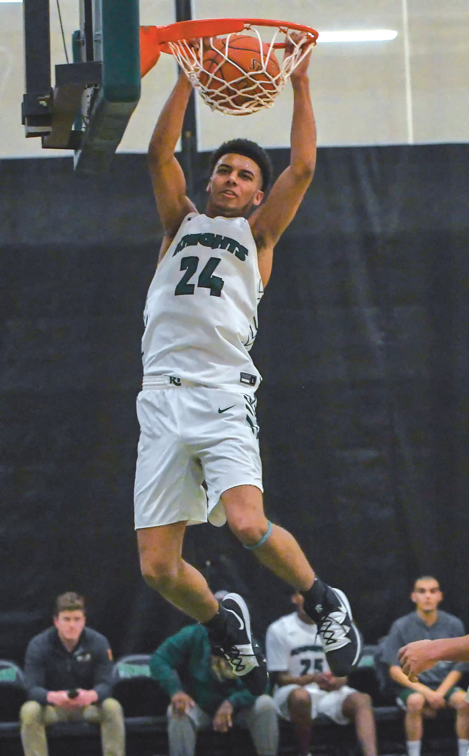 DUNK: CCRI's Mitchel Noresca throws down a slam dunk.