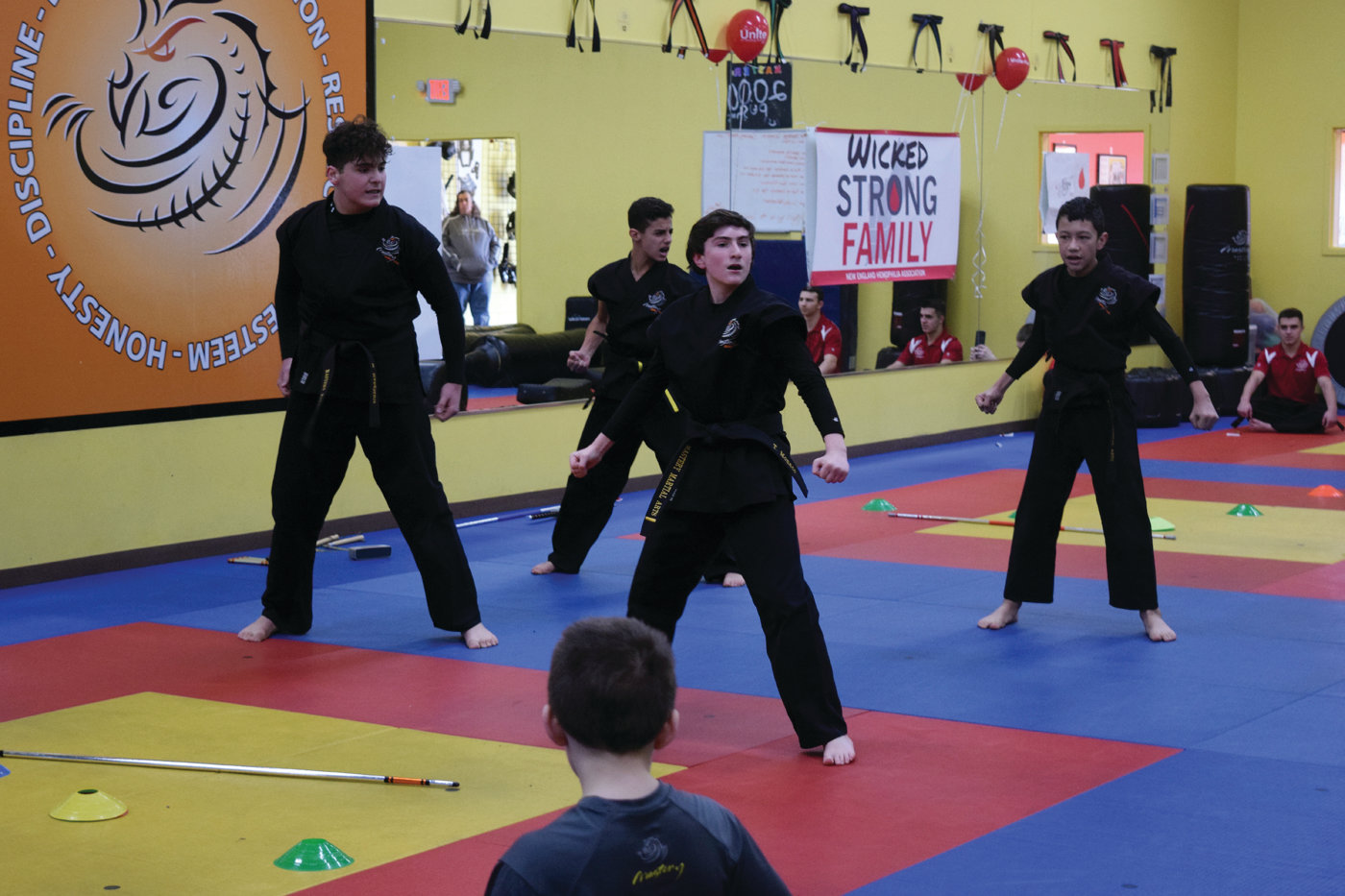 OPENING CEREMONY: Some of the older Mastery students opened Saturday's event in Johnston with a demonstration.