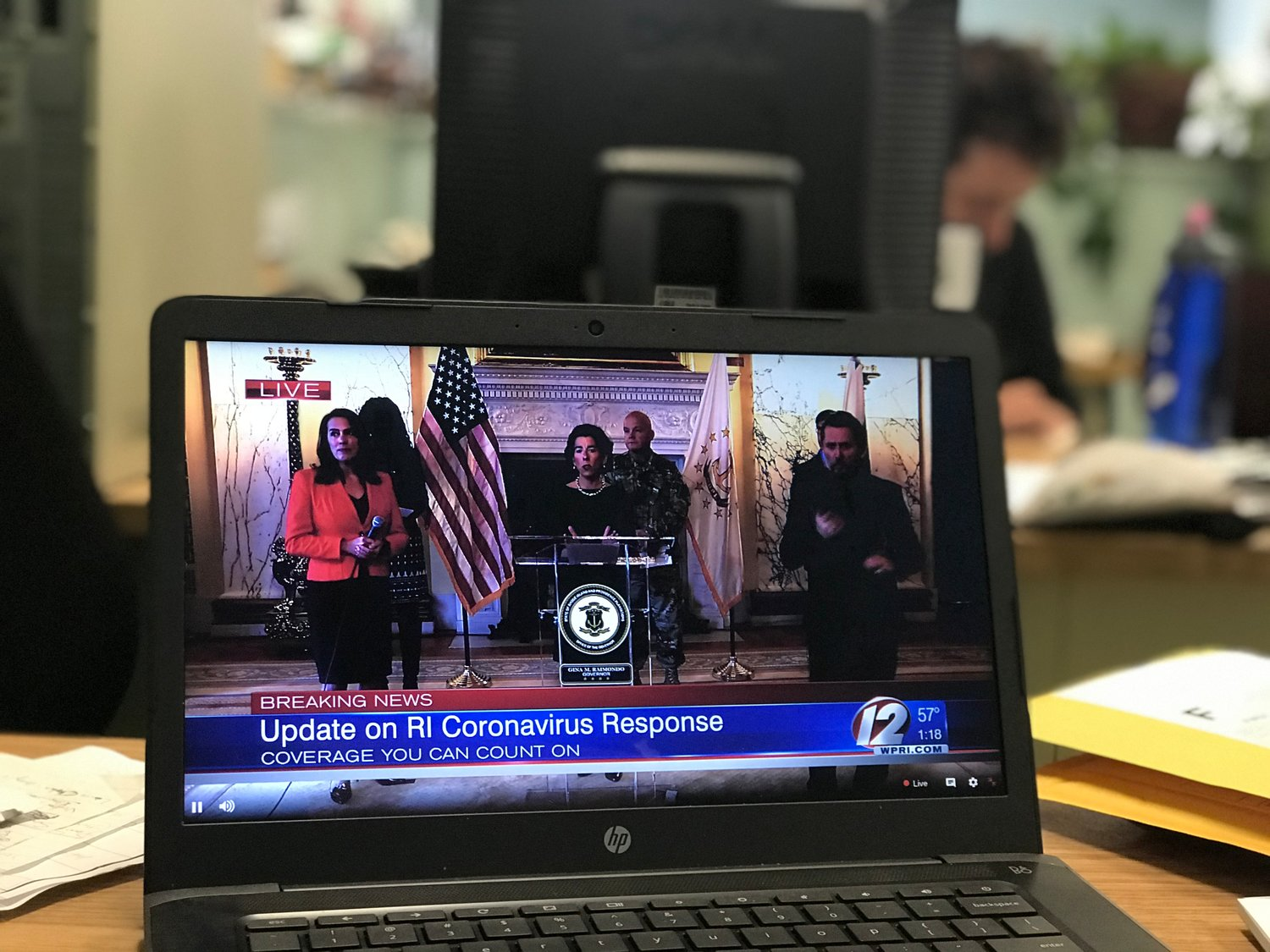 Gov. Gina Raimondo's Friday COVID-19 briefing was the first conducted from the State House and with the remote participation of the state's press corps.