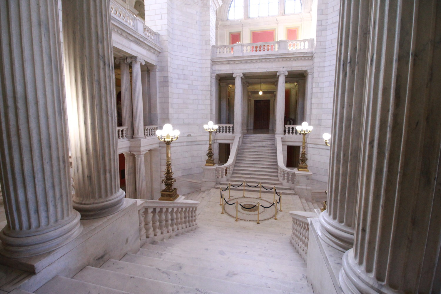 The rotunda at the State House sits empty late last week.